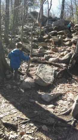 Hiking up the moutain like a seasoned hiker!