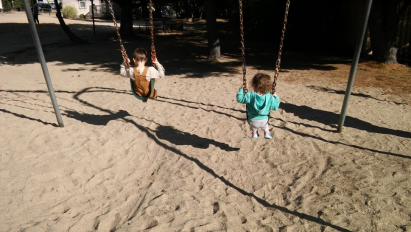 One of our favorite park time activity – swinging!